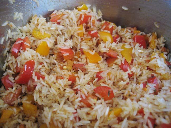 Ris svitses med peberfrugt