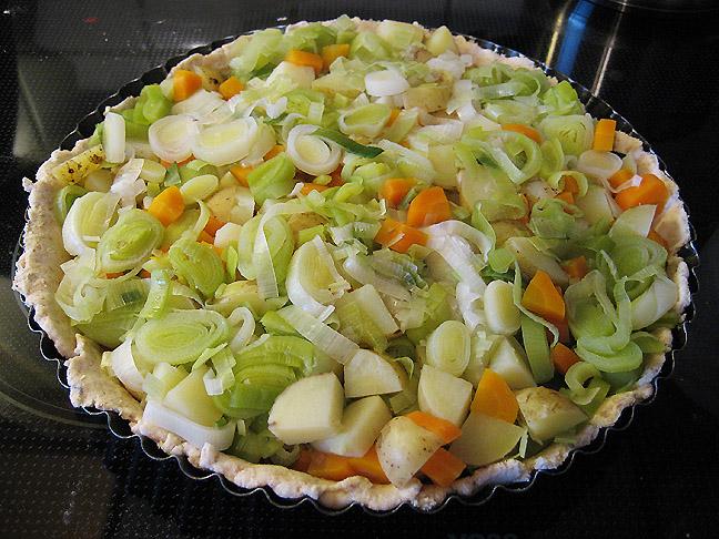 Tærtedej og kogte grøntsager
