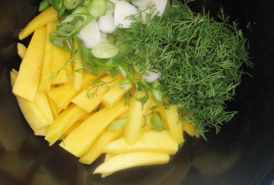 Mango, forårsløg og dild